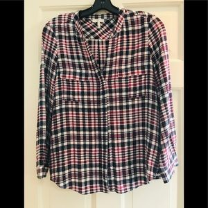 Joie washed silk plaid blouse